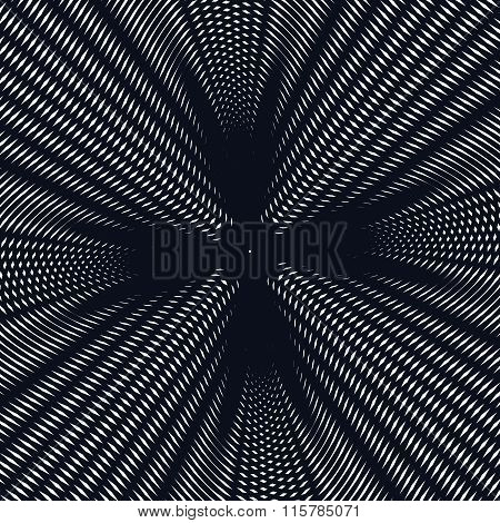 Illusive Background With Black Chaotic Lines, Moire Style. Contrast Geometric Trance Pattern.