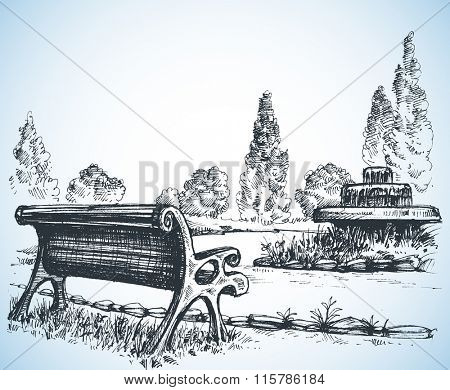 Park sketch, a fountain and bench