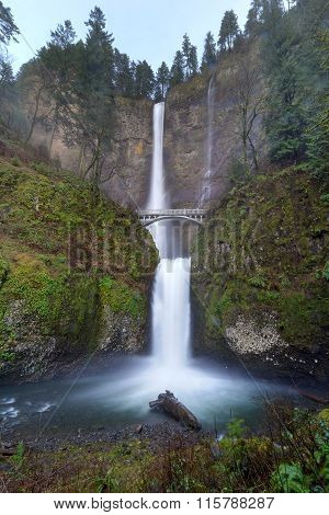 Multnomah Falls On A Rainy Day