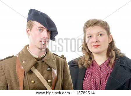 Portrait Of A French Soldier And His Wife, 40S