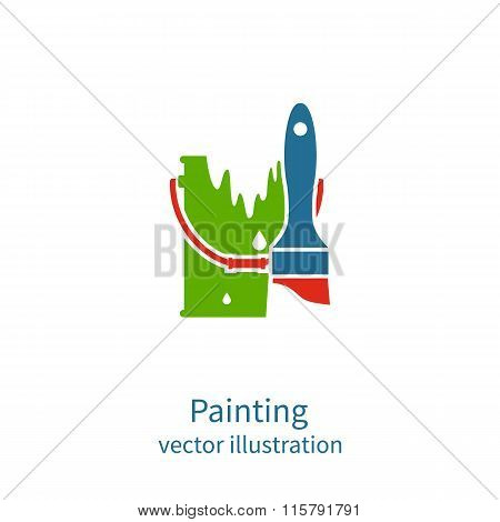 Painting Logo. Brush And Bucket Paint. Vector Logo Template. Restoration, Decorating, Painting Works