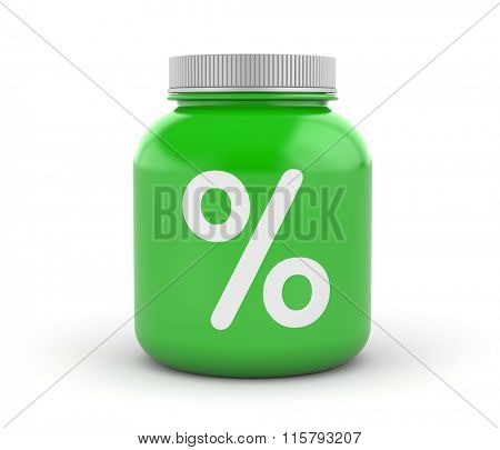 Cans of protein or gainer powder with percent sign