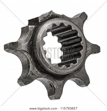 Damaged Cogwheel Close-up, Ruined Gear, Isolated On White Background
