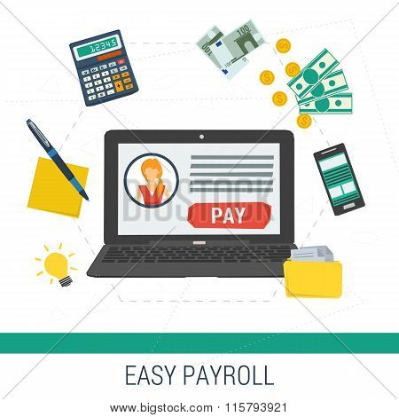 Vector concept easy online payroll operation