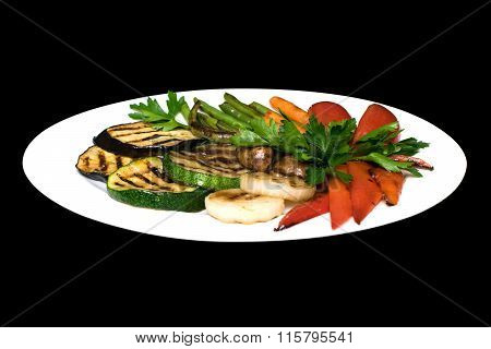 Photo Of Grilled Vegetables On A White Plate