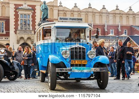 Krakow, Poland - May 15, 2015: Rugdy,Classic Old Car On The Rally Of Vintage Cars In Krakow, Poland