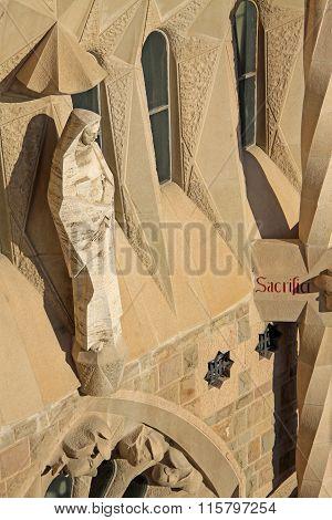Barcelona, Catalonia, Spain - December 12, 2011: Statue On Passion Fa?ade Of Sagrada Familia Temple,
