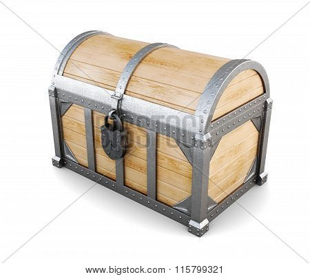 Wooden chest on white background. 3d rendering