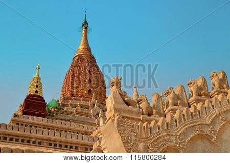 Bagan, Myanmar - March 11, 2015: Guardian Lions On Roof Of Ananda Temple