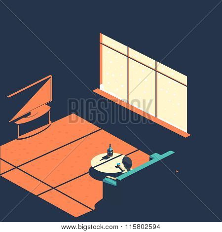 Frustration and depression isometric Banner