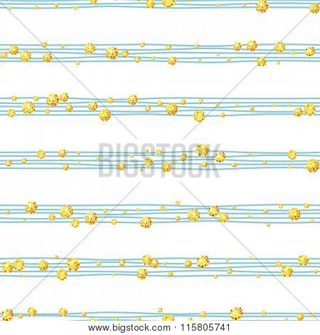 Seamless pattern of random gold balls  on trendy white background with blue stripes. Elegant pattern for background, textile, paper packaging and other design. Vector illustration.