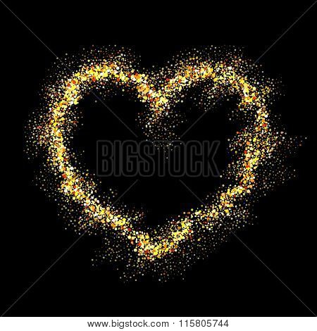 Vector gold heart with shiny sparkles on black background