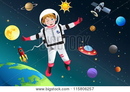Girl Dressed Up As Astronaut