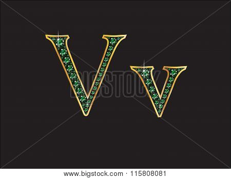 Vv In Emerald Jeweled Font With Gold Channels