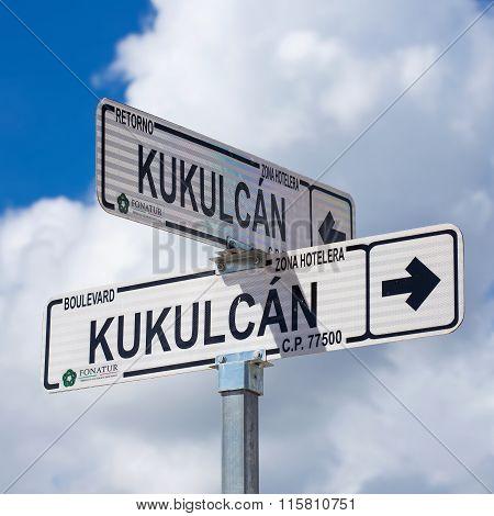 Road Sign Kukulcan Boulevard At Zona Hotelera