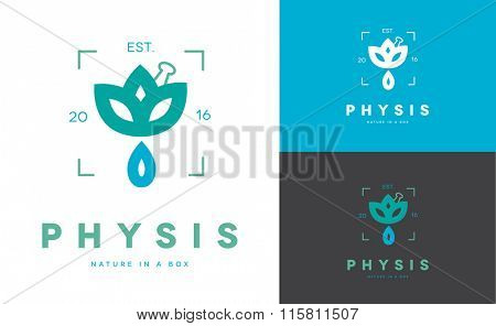 MINIMAL LOGO DESIGN OF A DROP COMING OUT OF A FLOWER . THE NAME PHYSIS IN GREEK MEANS NATURE . IDEAL FOR NATURAL PRODUCTS, OILS OR HOMEOPATHIC MEDICINE