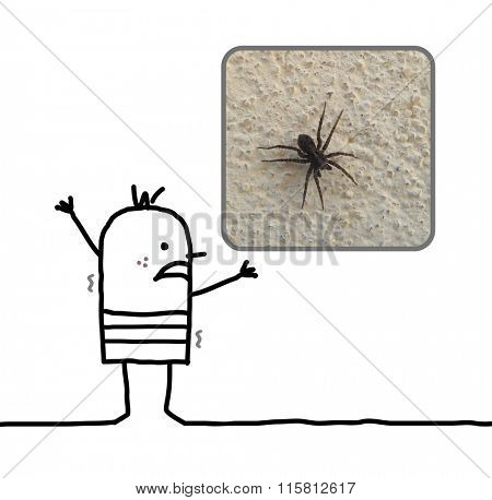 cartoon man frightened with a spider