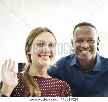 Colleague Friends Smiling Cheerful Workplace Concept