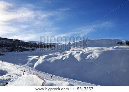 Ski Resort At Sun Evening