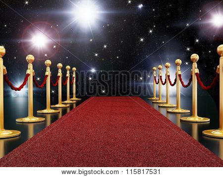 Red carpet night illuminated with camera flashes
