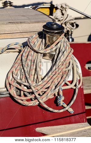 Oarlock And Rope On A Sailboat.