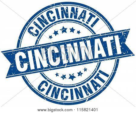 Cincinnati blue round grunge vintage ribbon stamp