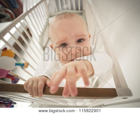 Small Abandoned Baby In The Crib Crying
