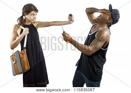 Woman Refusing To Be a Victim of a Thief