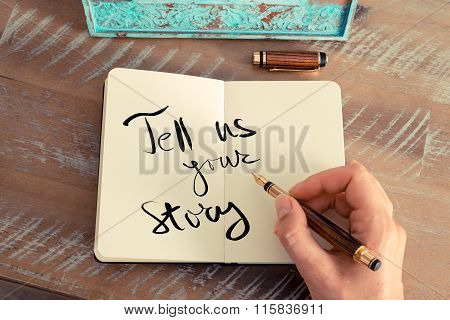 Handwritten Text  Tell Us Your Story