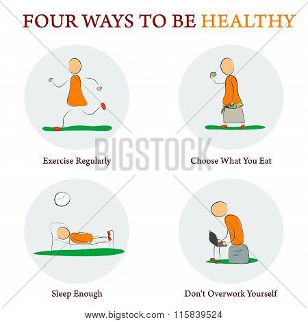 infographics - FOUR WAYS TO BE HEALTY