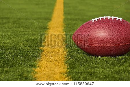Football Short Of The Goal Line Close