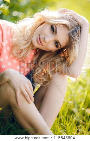 Summer portrait of a beautiful woman.