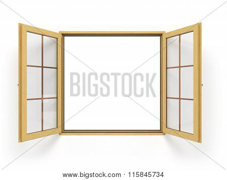 Open Wooden Window Isolated Close Up