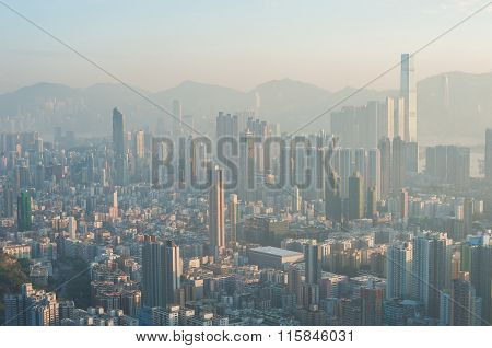 A Polluted Hong Kong Cityscape Seen From The Top Of Beacon Hill, Kowloon