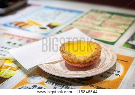 Traditional Egg Custard Tart Served In A Hong Kong Restaurant.