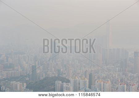 Severe Air Pollution In Hong Kong Obscures The View From The Top Of Beacon Hill
