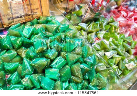 Thai Coconut Candy At A Chiang Mai Market Stall