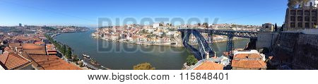 background landscape panorama view from the cable car to the embankment Nova de Gaia Vila, Porto and river Duoro poster