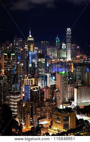 Hong Kong Island Cityscape At Dusk, As Seen From Braemar Hill
