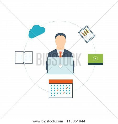 Concept of consulting services, project management, time management, marketing research, strategic planning and online learning. Thin line icons poster