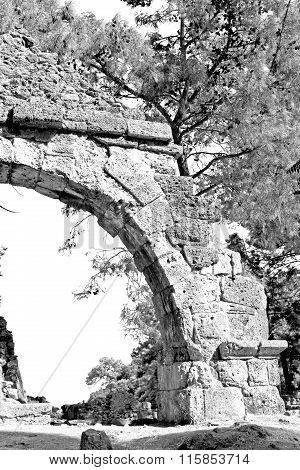 Phaselis Sea  Bush Gate  In  Myra  The      Old Column  Stone  Construction Asia Greece And  Roman T