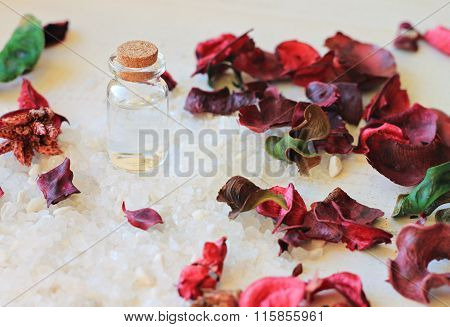 Salt, dry flowers, fragrant oil