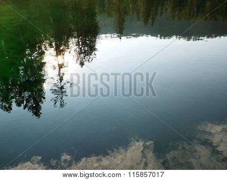 Reflections In A Mountain Lake Under A Blue Sky Priest Lake Idaho Usa