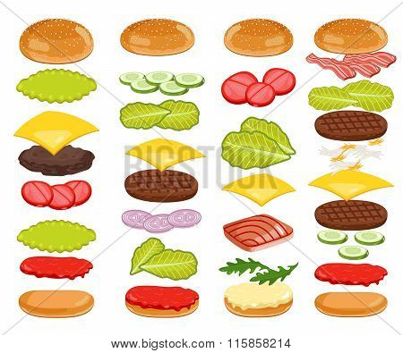 Burger Ingredients Set on White Background