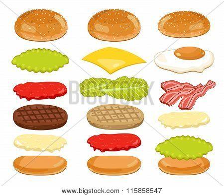 Burger Ingredients Set on White Background