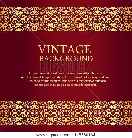 Vintage Red Background With Gold Lace As Top And Down Decoration