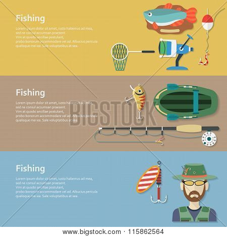 Fishing banners. Flat style. Vector illustration.