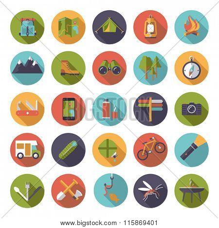 Collection of flat design camping, hiking and outdoor pursuit vector icons in circles