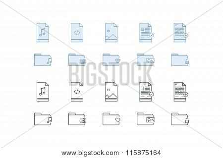 Files and folders icons. Line art. Stock vector.