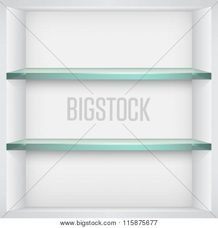 Empty Glass Shelves On White Wall. Vector Illustration.
